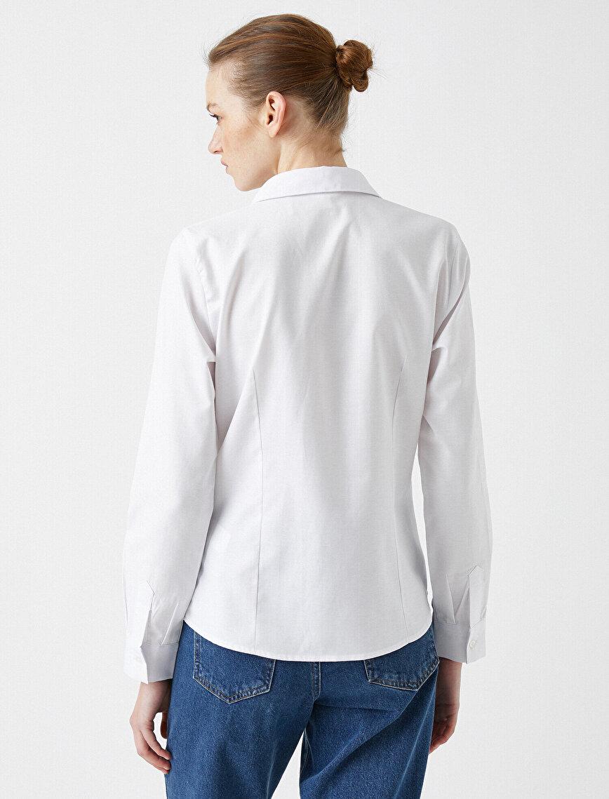 Poplin Gömlek Pamuklu Uzun Kollu Basic