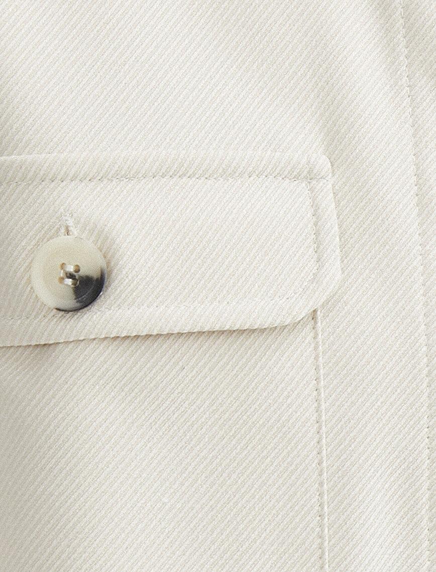 Oversize Cepli Düğme Detaylı Gömlek
