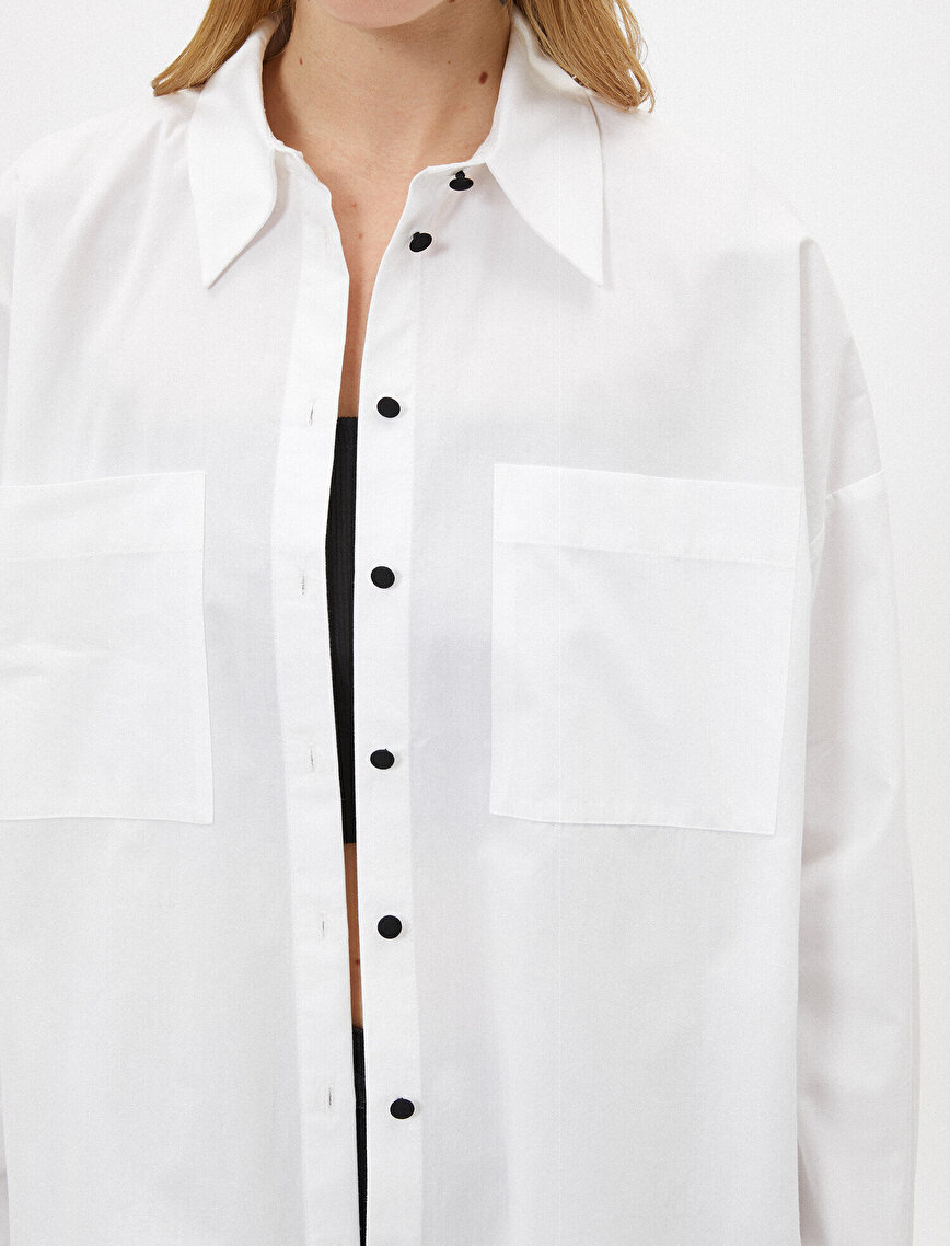 Oversize Gömlek Poplin Pamuklu Düğme Detaylı
