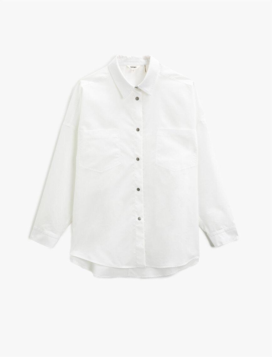 Oversize Shirt Cotton Button Detailed