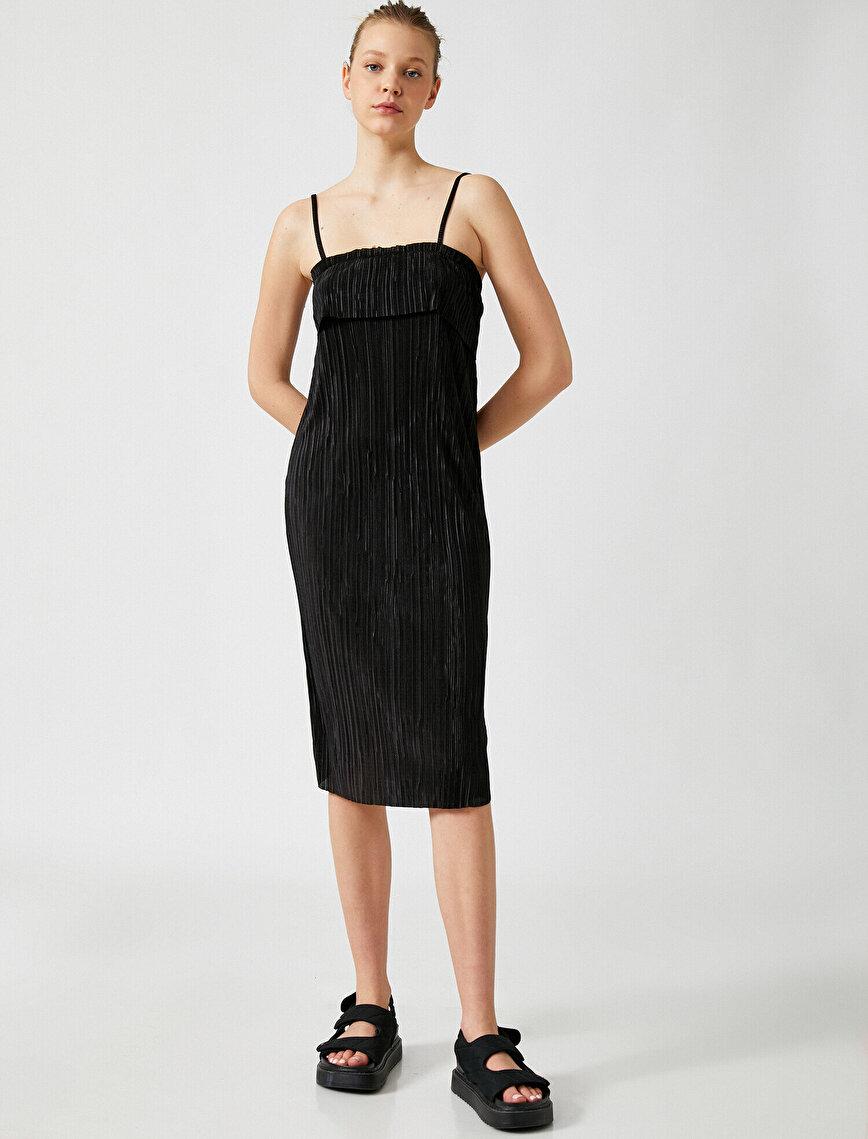 Askılı Elbise Pileli