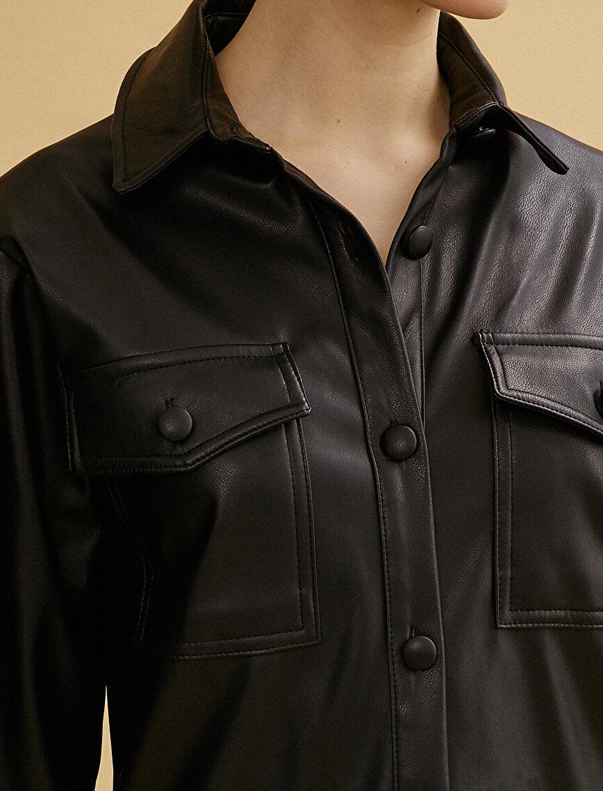 Deri Görünümlü Gömlek Yaka Pileli Kısa Elbise