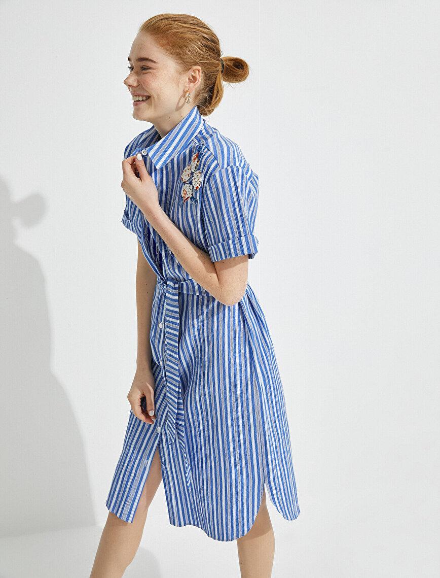 El Emeği Elbise Boncuk İşlemeli Çizgili Kısa Kollu Gömlek Yaka Kuşaklı