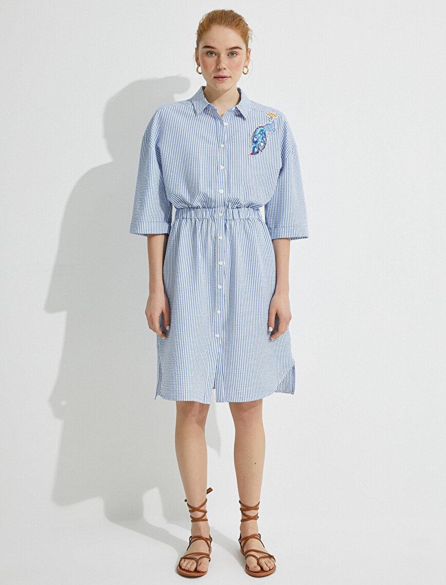 El Emeği Elbise İşlemeli Gömlek Yaka Çizgili