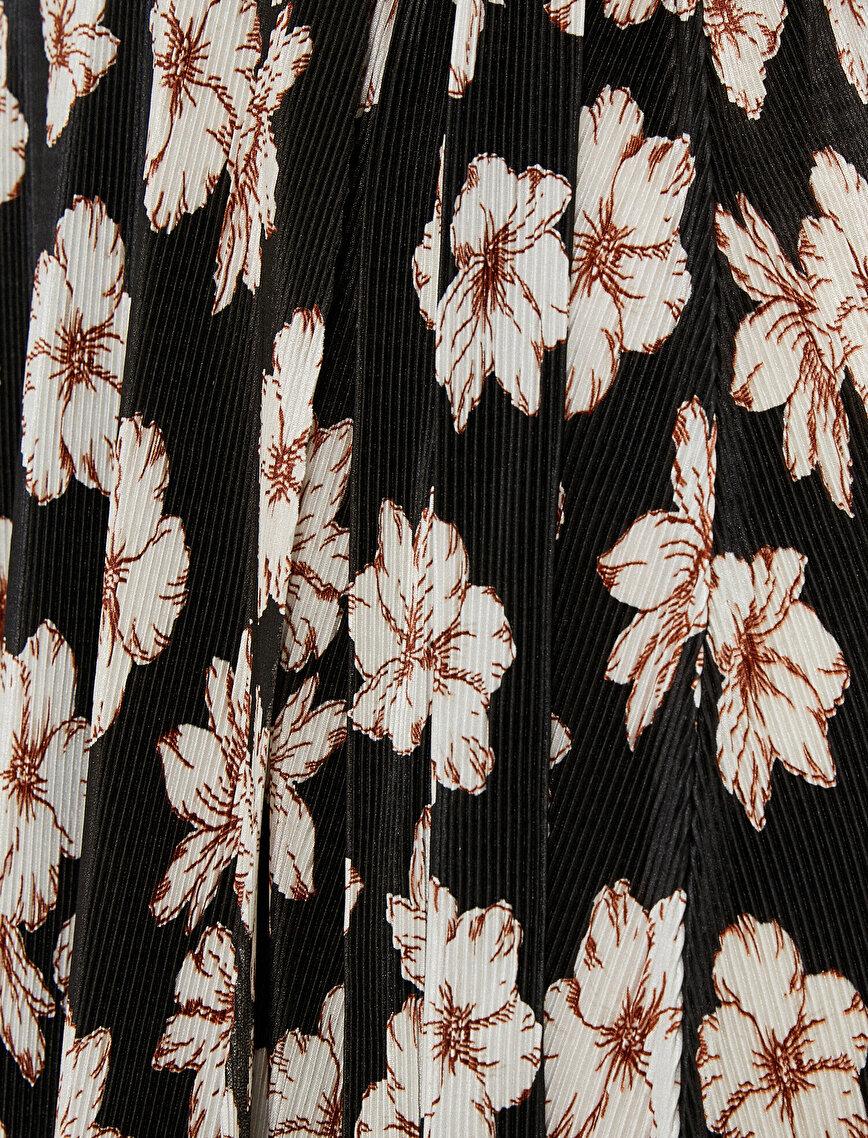 Çiçekli Elbise Kısa Kollu