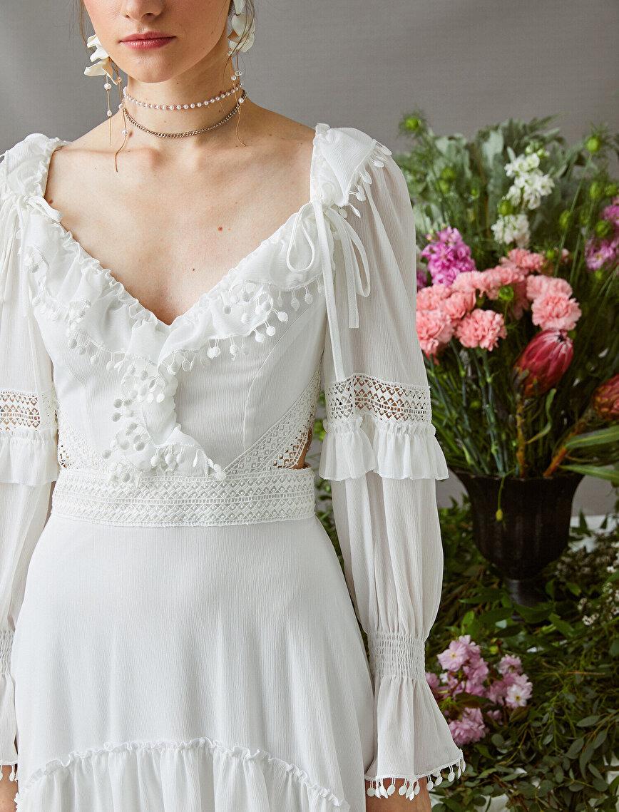 Zeynep Tosun for Koton - Dantelli Elbise Uzun Kollu Asimetrik