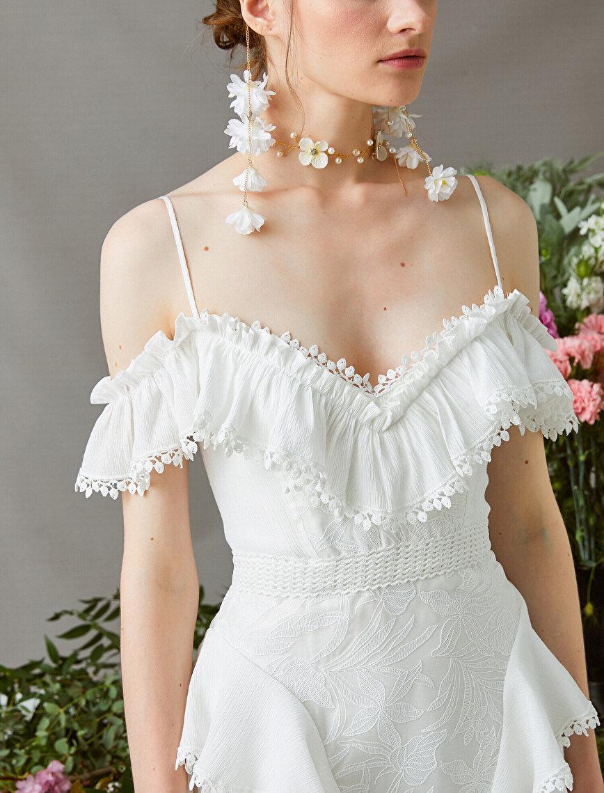 Zeynep Tosun for Koton - Askılı Fırfırlı Kısa Elbise