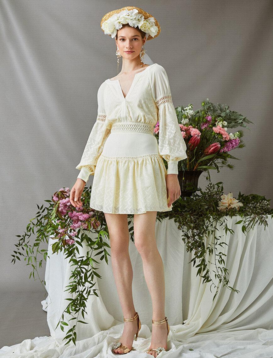 Zeynep Tosun for Koton - Uzun Kollu Mini Elbise