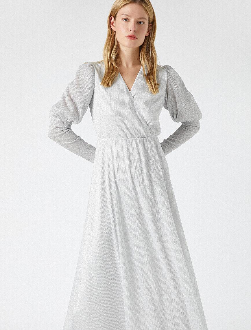 Uzun Elbise Abiye Pileli Uzun Kollu
