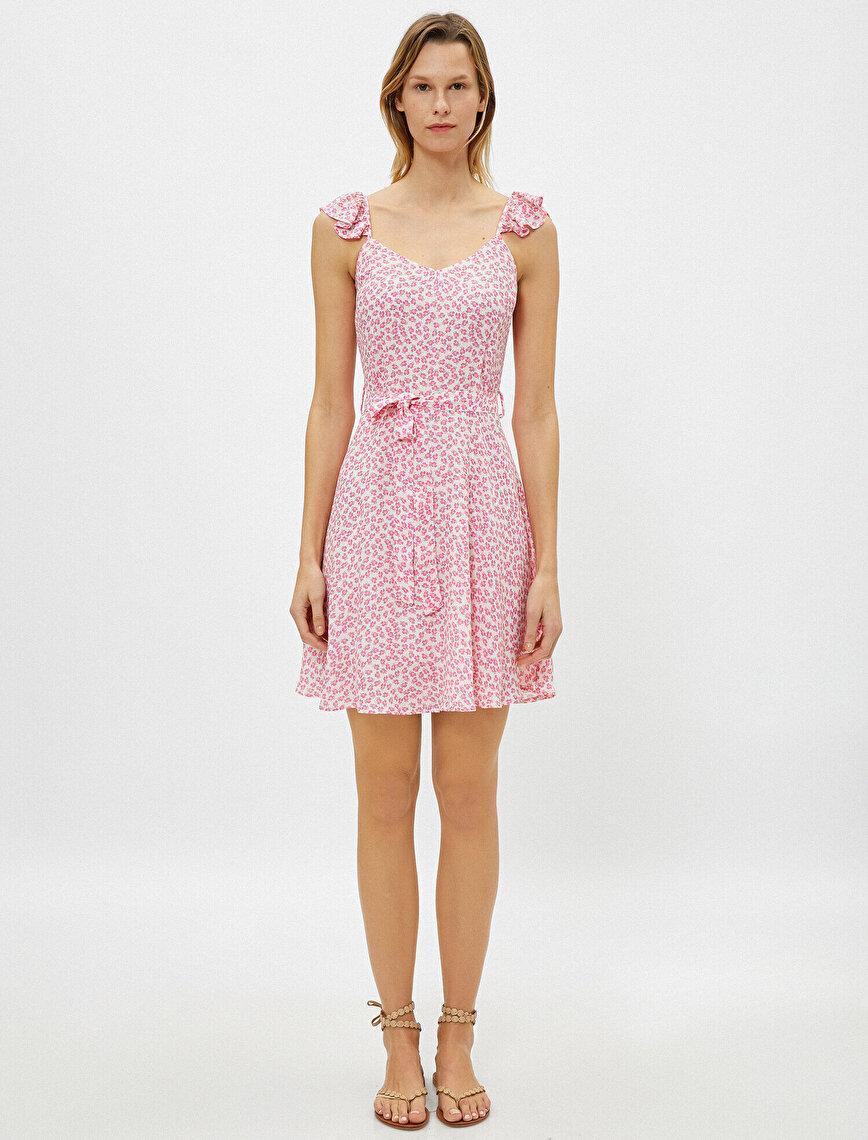 Çiçekli Elbise Askılı Fırfır Detaylı