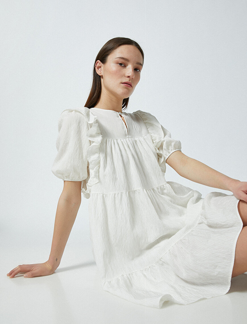 Fırfırlı Elbise Mini Kısa Kollu