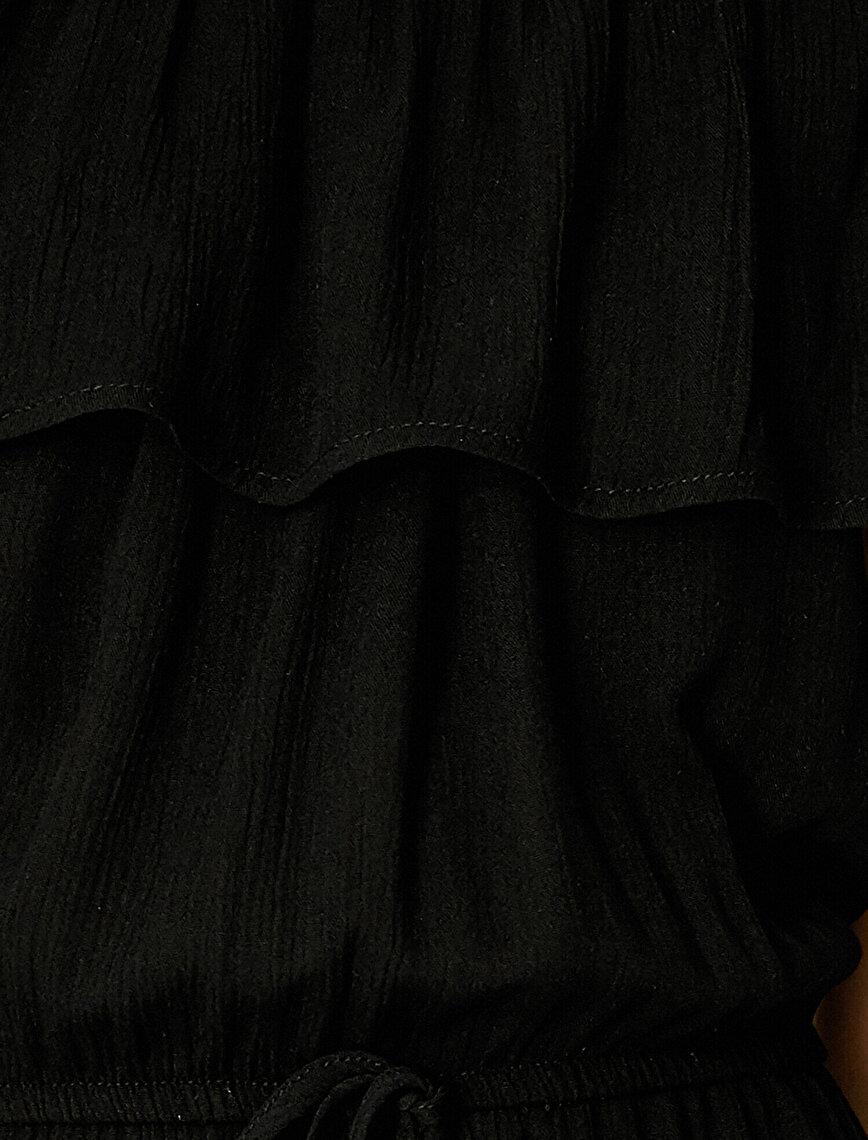 Omuz Açık Elbise Belden Bağlamalı