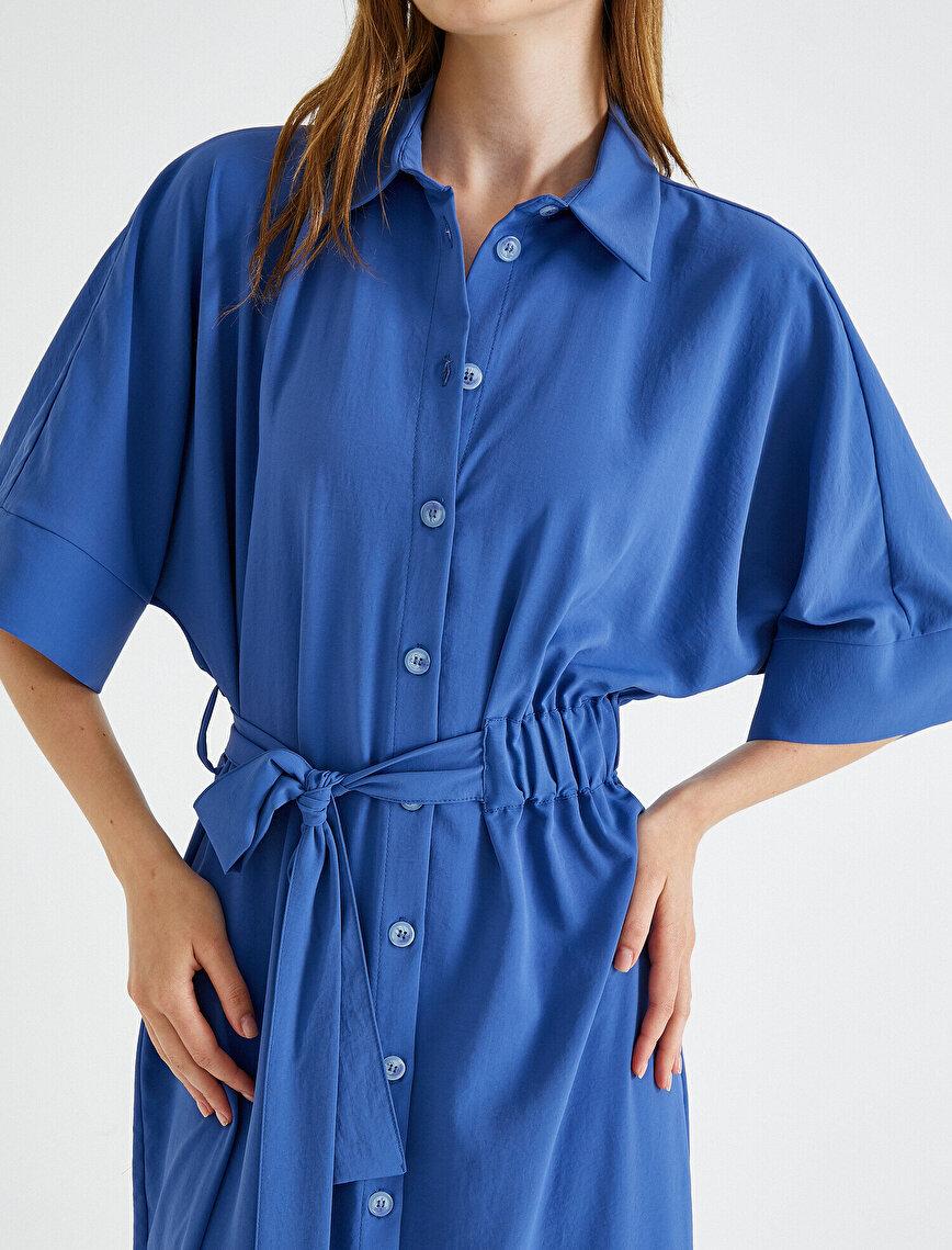 Shirt Neck Dress Belted