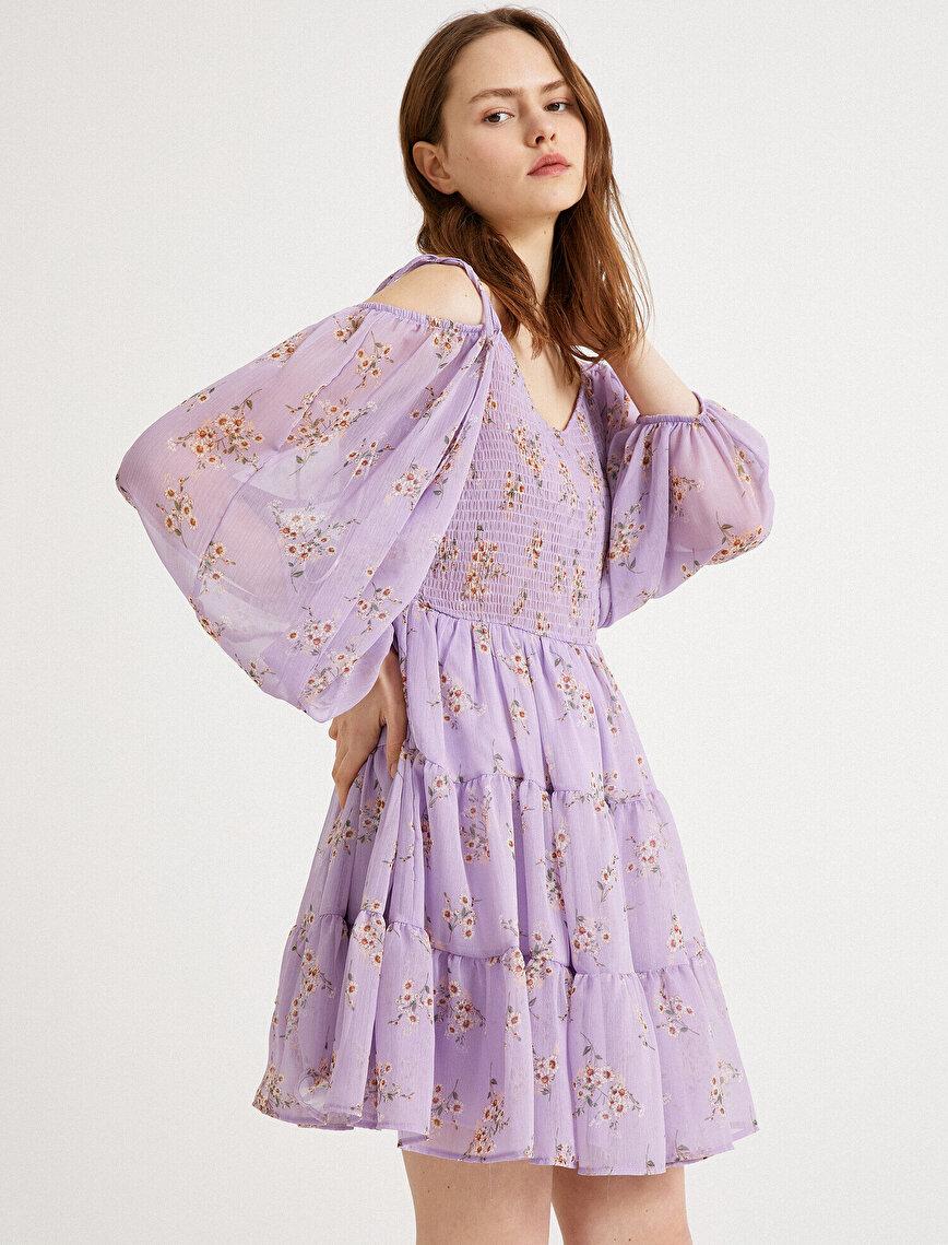Çiçekli Elbise Omuz Detaylı Uzun Kollu Mini