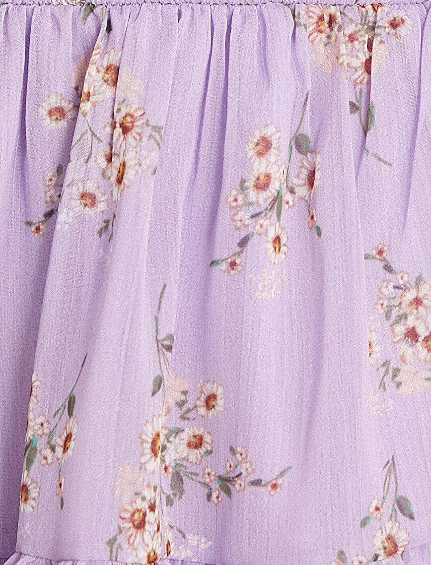 Floral Dress Shoulder Detailed Long Sleeve