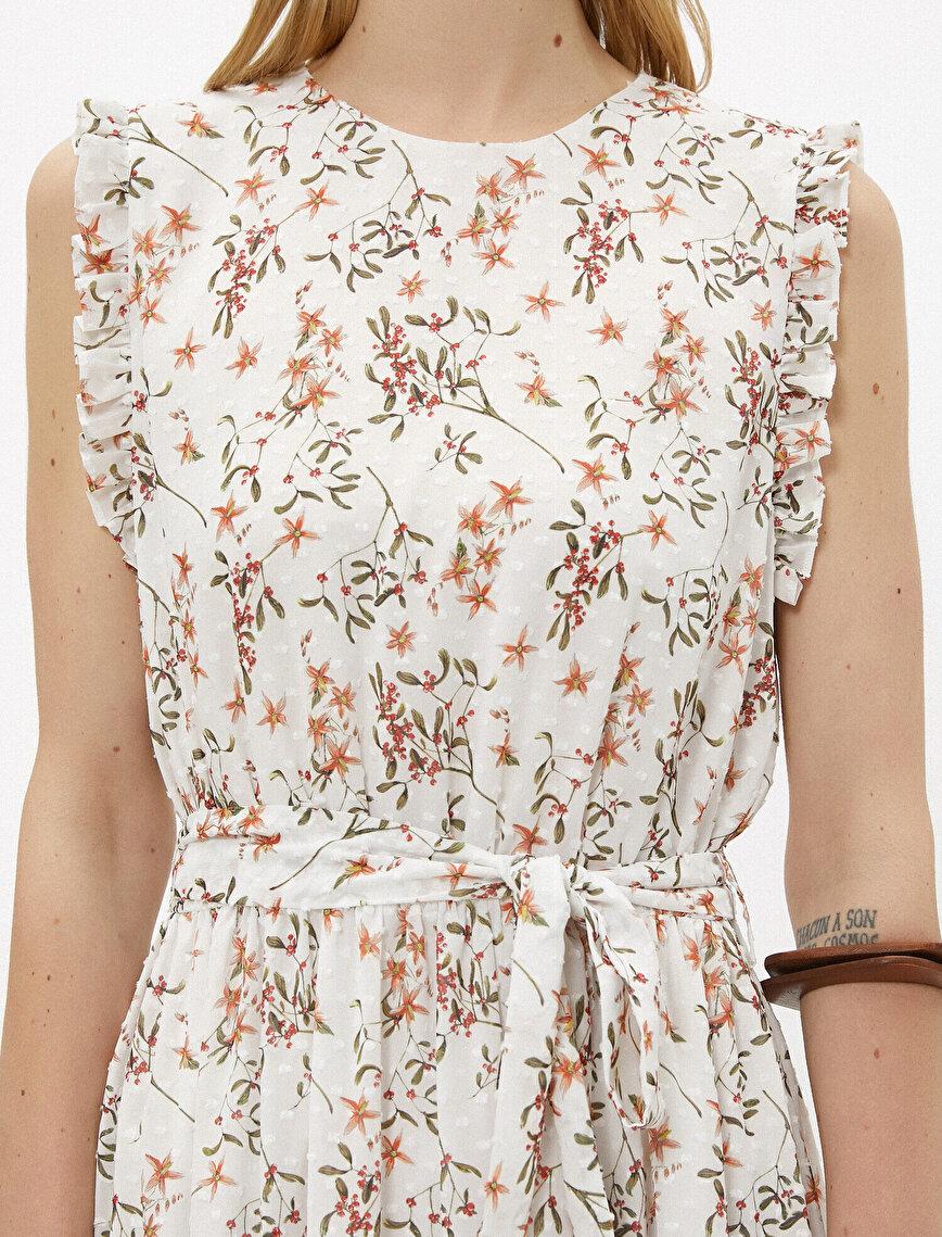 Çiçekli Elbise Fırfırlı Kuşaklı