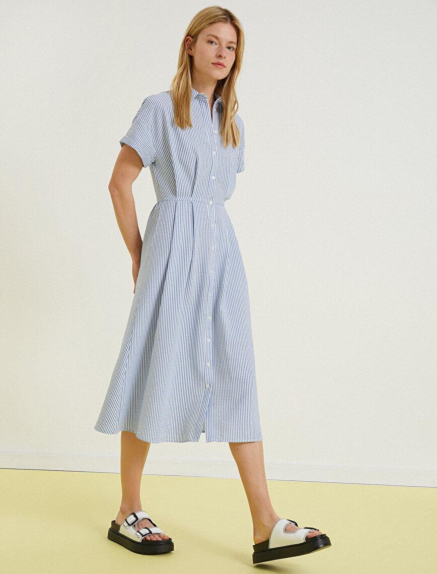 Poplin Elbise Çizgili Gömlek Yaka Kısa Kollu
