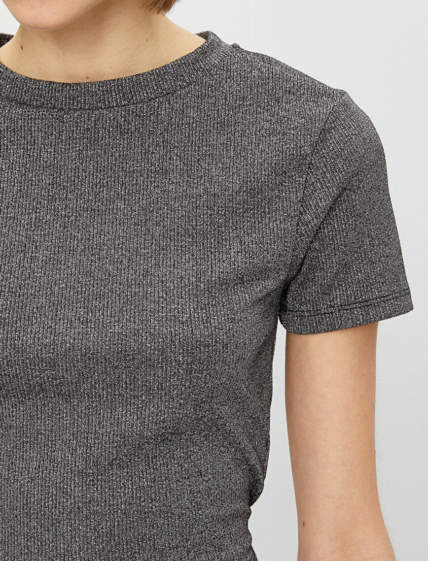 Short Sleeve T-Shirt Crew Neck Slim Crop Drawstring