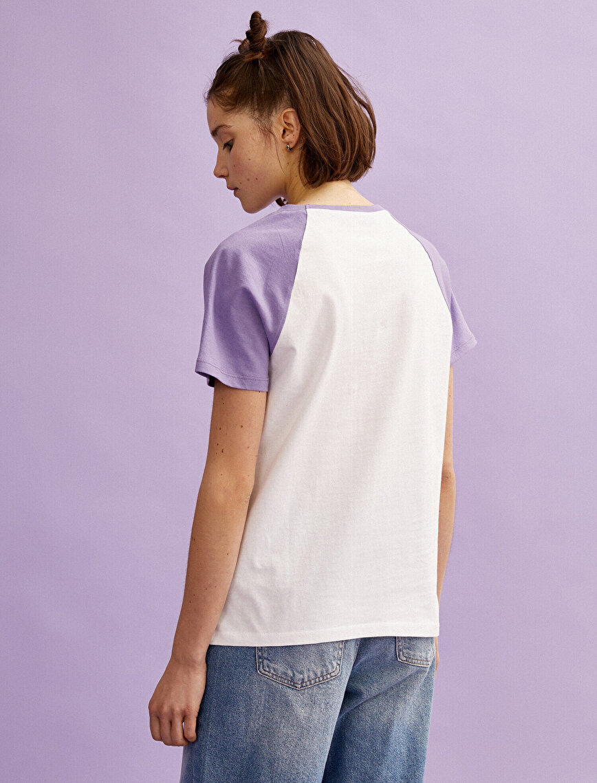 Color Block T-Shirt Letter Printed Cotton