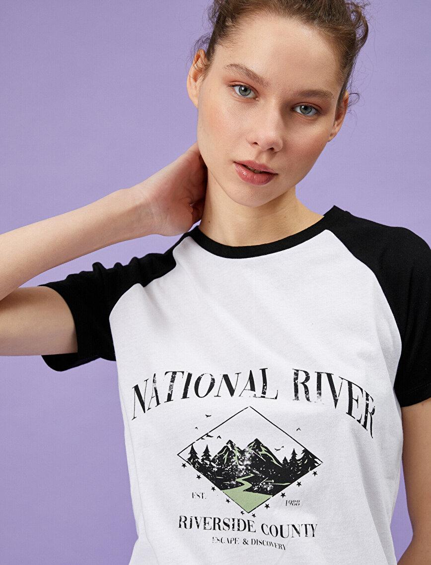 Renk Bloklu Tişört Yazılı Baskılı Pamuklu