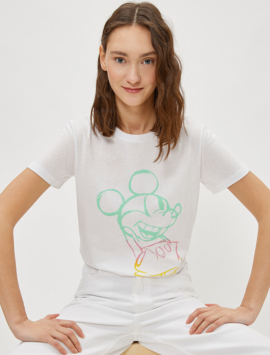 Mickey Mouse T-Shirt Short Sleeve Crew Neck Cotton Licensed