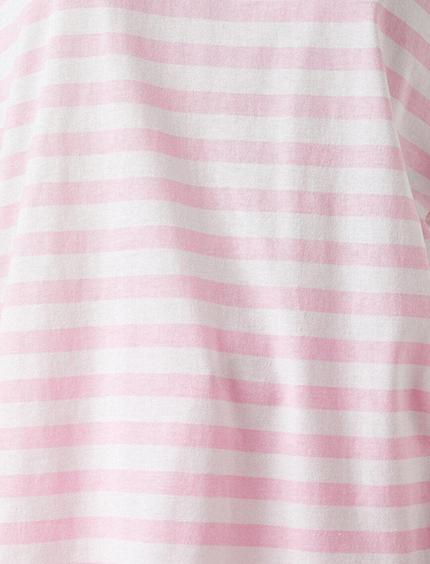 Çizgili Tişört Pamuklu Oversize