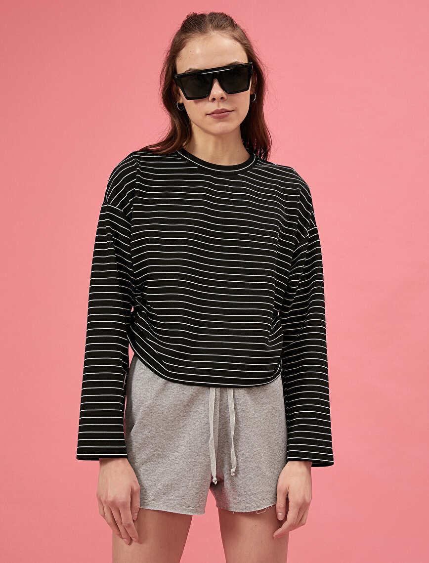 Long Sleeve Striped Gathered T-Shirt