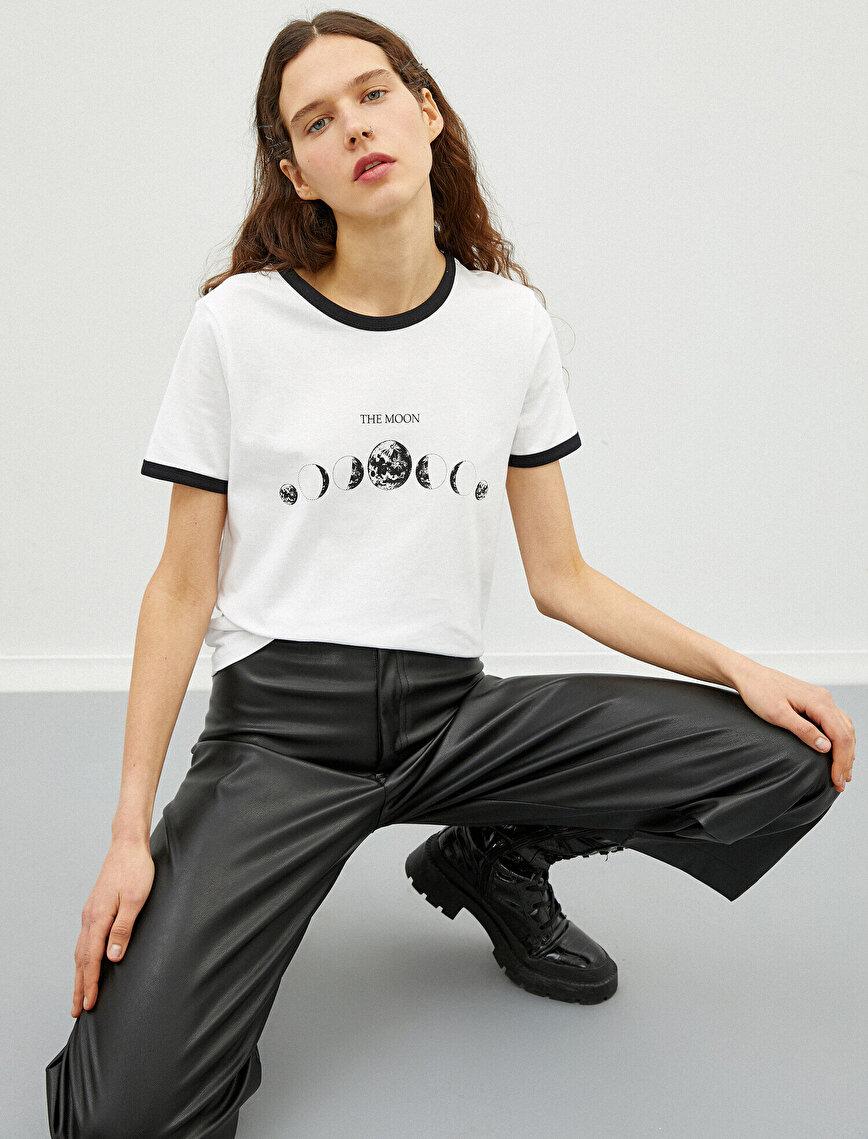 Printed T-Shirt Crew Neck Cotton Stripe Detailed