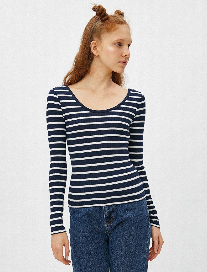 Long Sleeve T-Shirt Striped Crew Neck