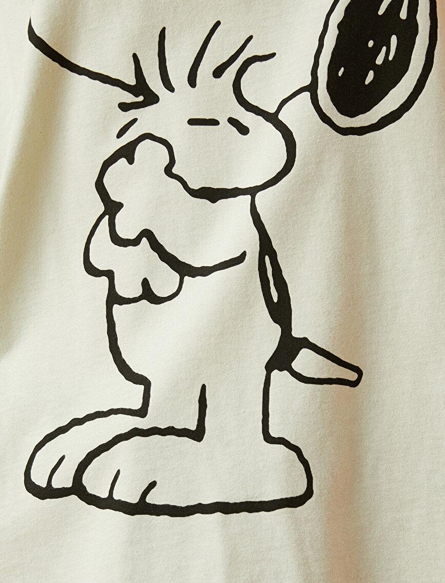 Snoopy Tişört Lisanslı Bisiklet Yaka Pamuklu Oversize