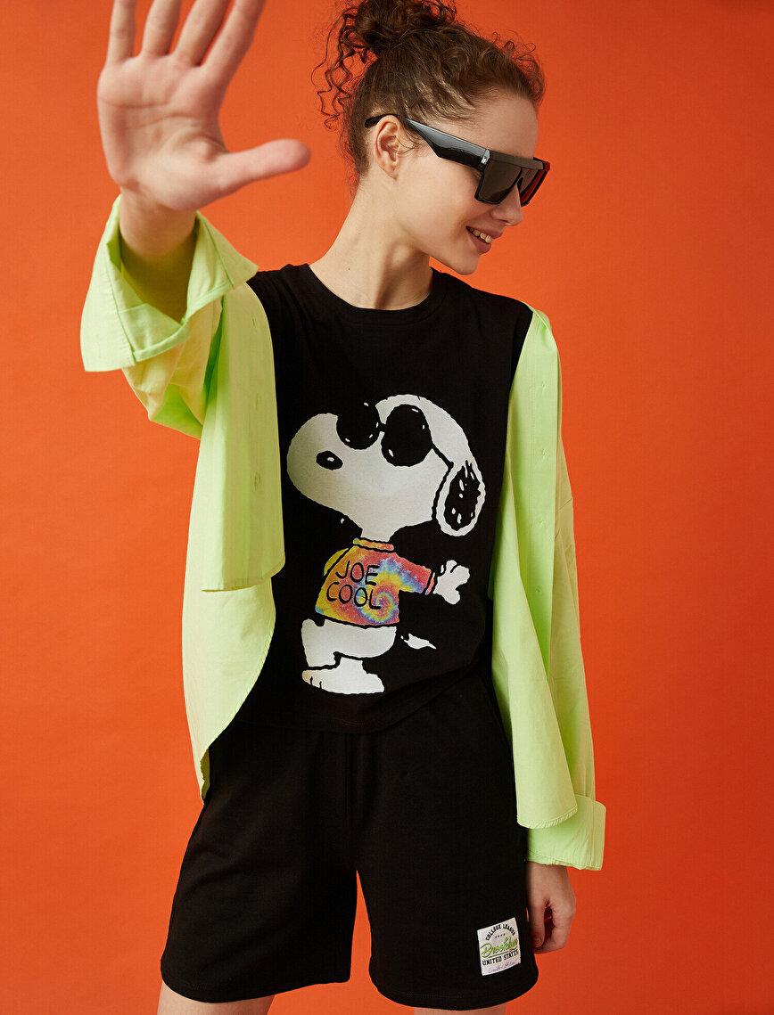 Snoopy Tişört Lisanslı Pamuklu Oversize