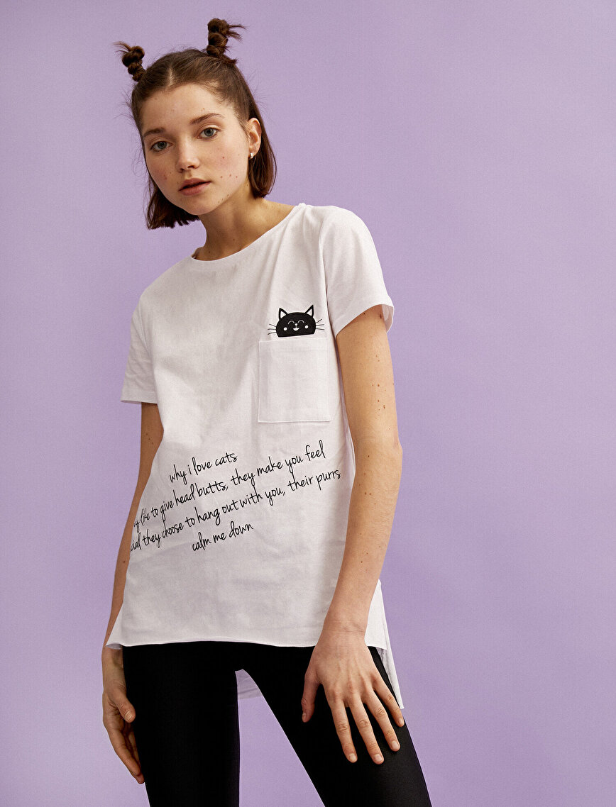 Letter Printed T-Shirt Cotton Pocket Detailed