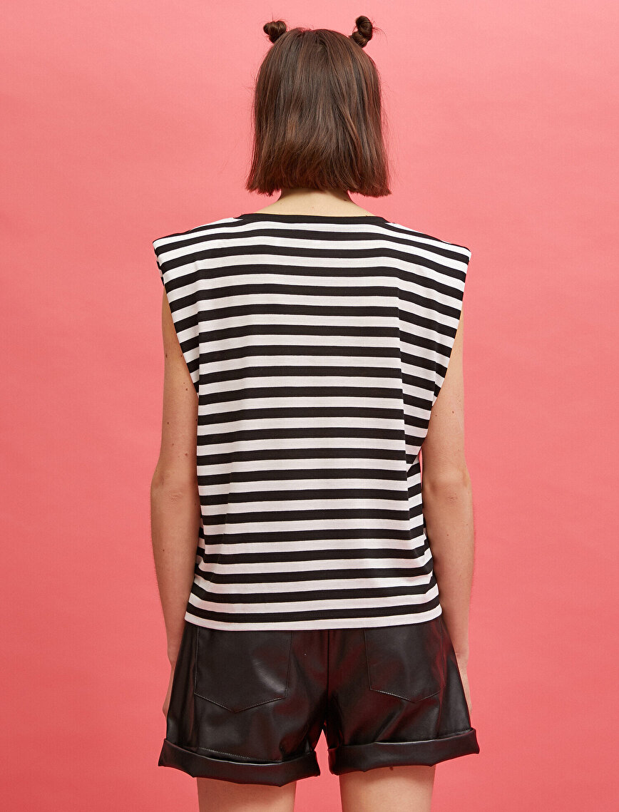 Shoulder Pad T-Shirt Sleeveless Crew Neck Striped
