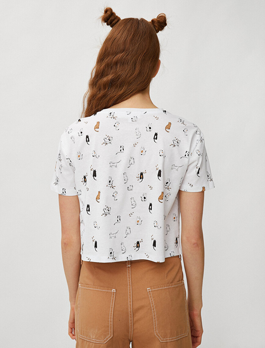 Short Sleeve T-Shirt Cat Printed Cotton Crop