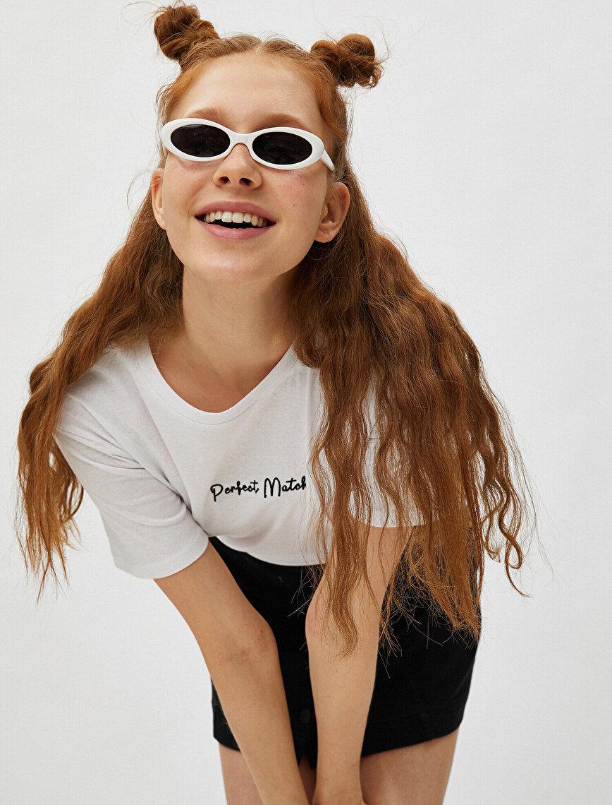 Short Sleeve T-Shirt Slogan Embellished Crew Neck Cotton