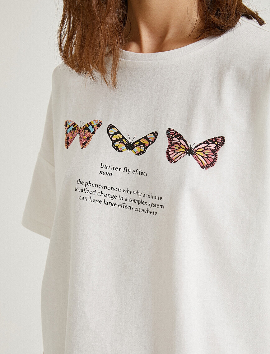 Letter Printed T-Shirt Short Sleeve Cotton