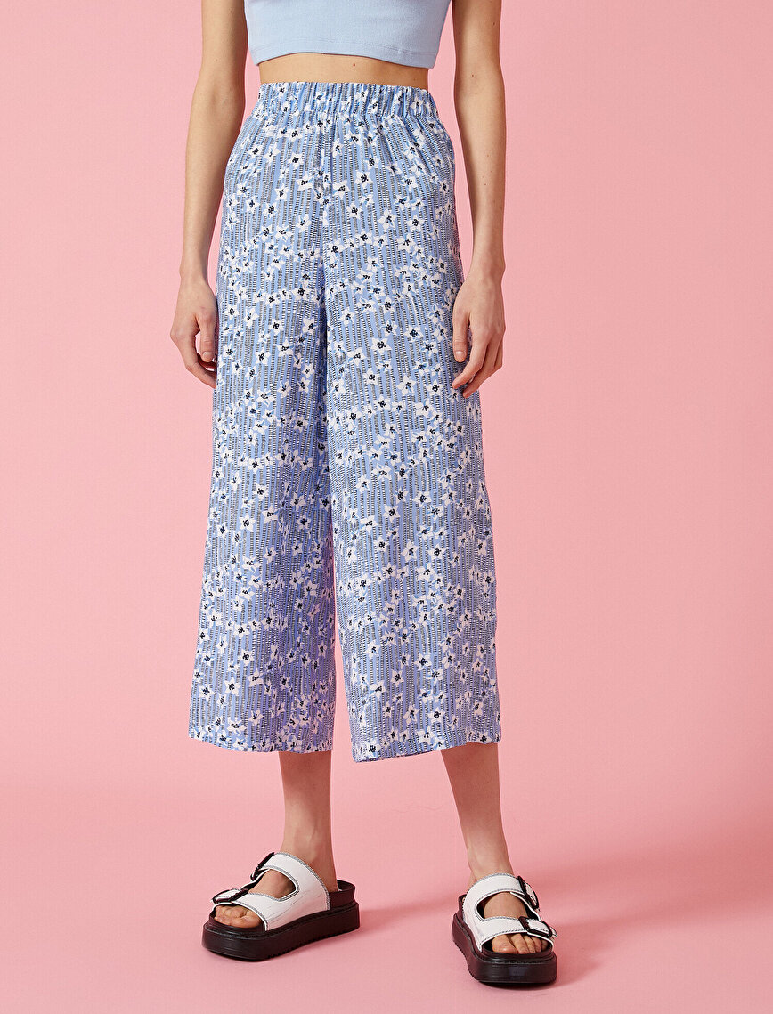 Floral Trousers Wide Leg