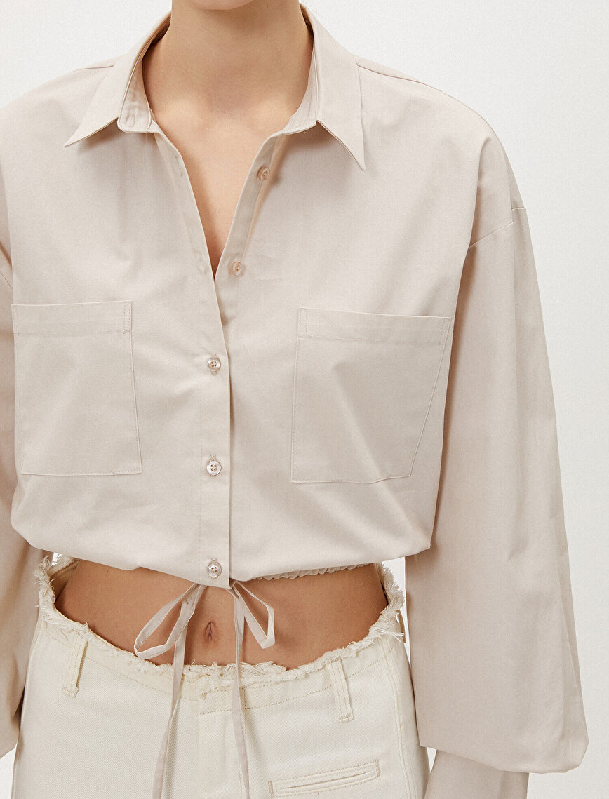 Crop Gömlek Belden Bağlamalı Cepli Pamuklu