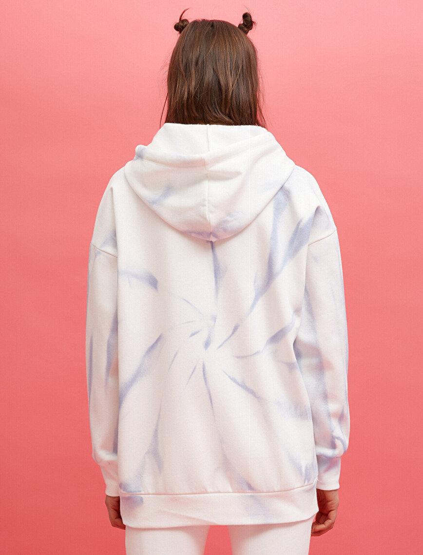 Hooded Sweatshirt Oversize Batik Patterned Cotton