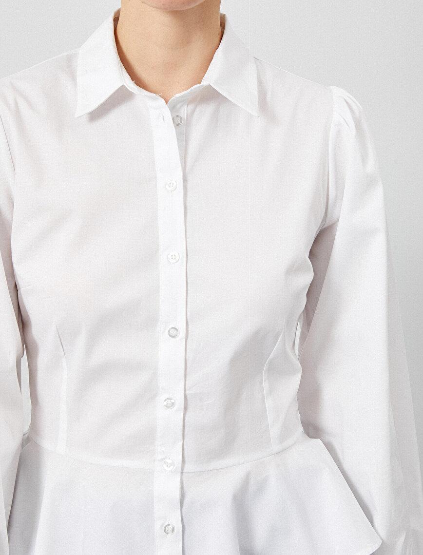 Balon Kol Gömlek Fırfır Detaylı Pamuklu