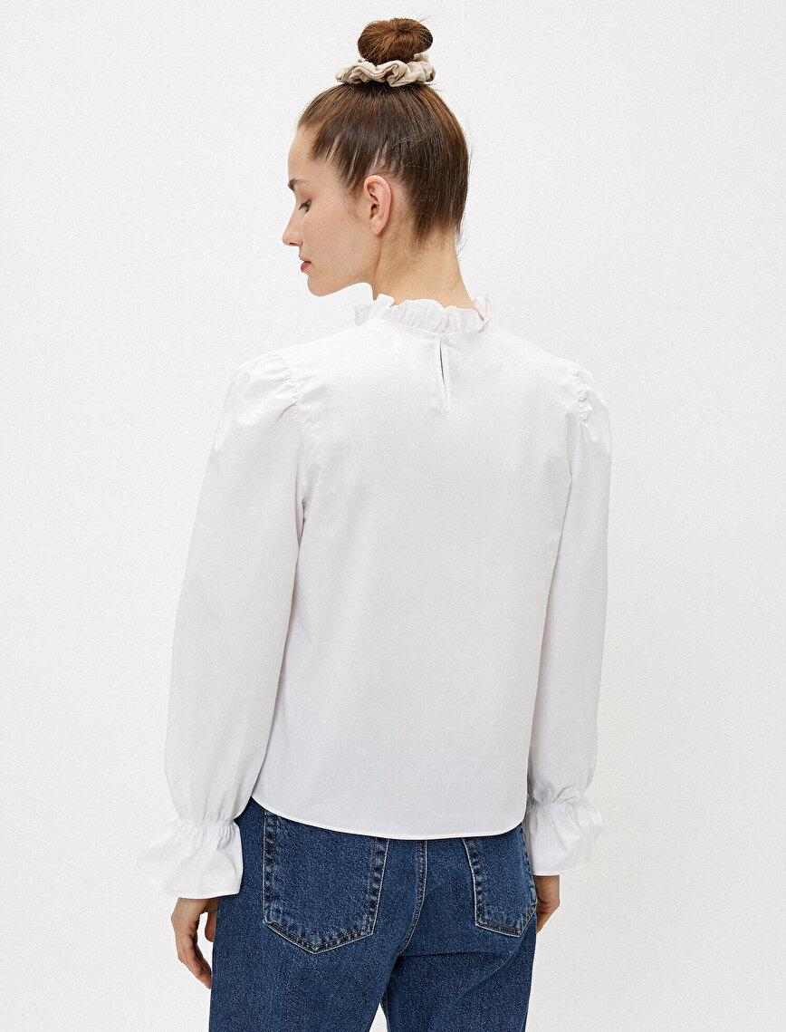 Fırfırlı Bluz Uzun Kollu Pamuklu