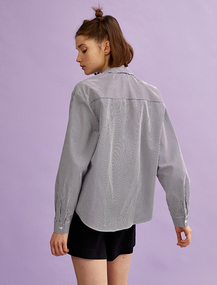 Gömlek Yaka Bluz Pamuklu Uzun Kollu Çizgili