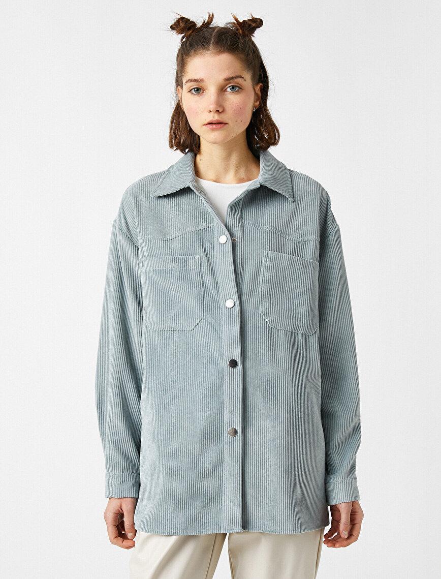 Fitilli Kadife Cepli Gömlek Oversize
