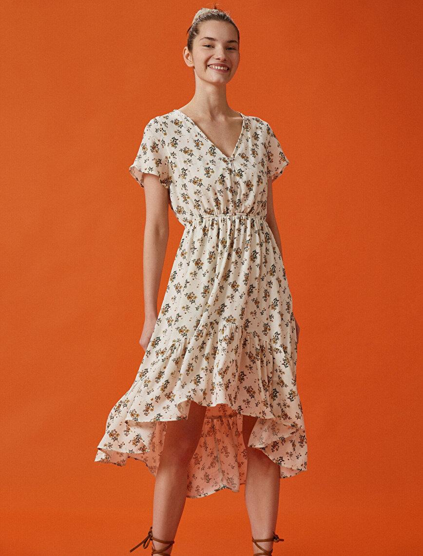Çiçekli Elbise Kısa Kollu V Yaka Asimetrik