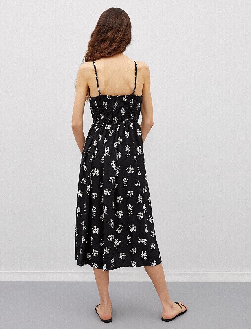 Çiçekli Elbise İnce Askılı