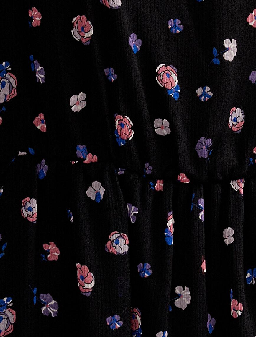 Floral Tulle Dress Square Neck Long Sleeve Mini