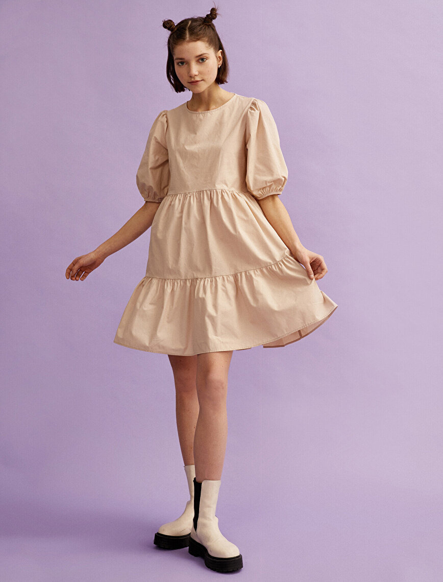 Short Sleeve Dress Cotton Poplin
