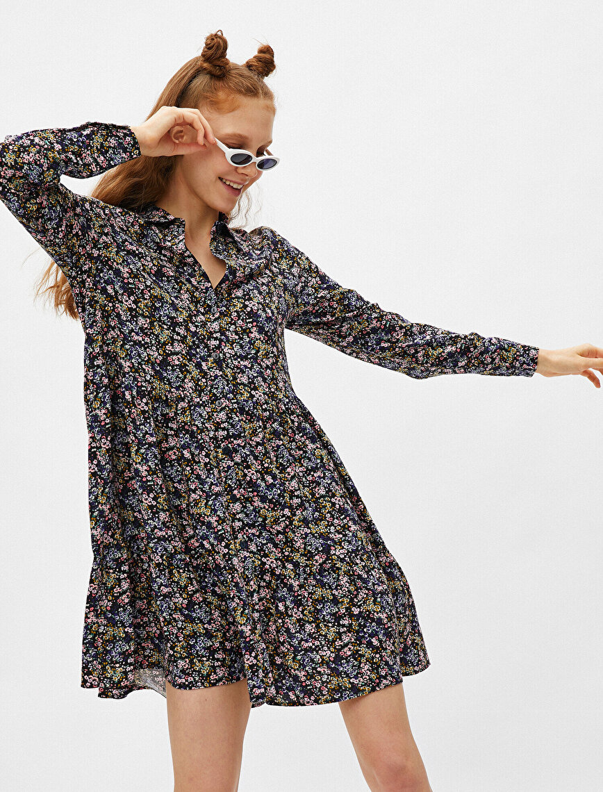 Shirt Neck Long Sleeve Floral Mini Dress