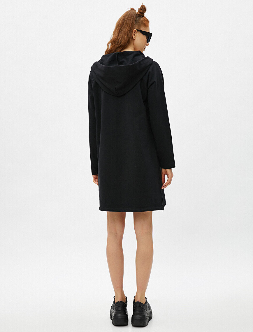 Hooded Dress Pocketed Cotton