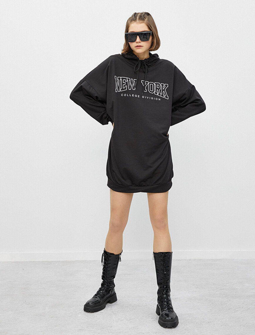 Hooded Long Sleeve Letter Printed Dress